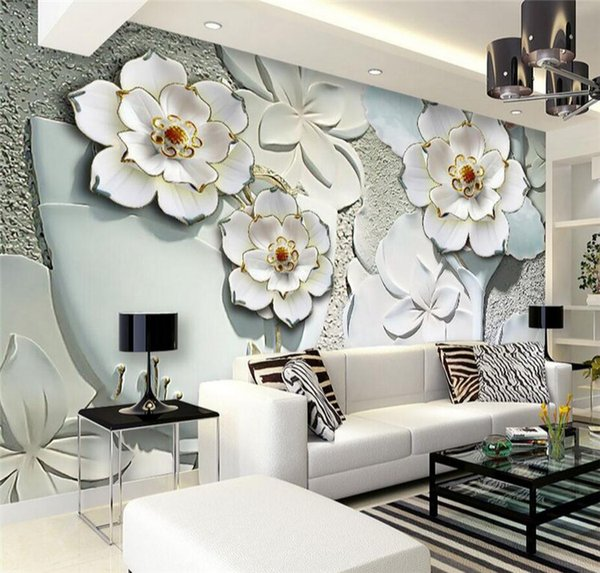 top popular EUorpean 3D Embossed Flower Wall Mural Photo Wallpaper for Living Room TV Background Wall Decor Murals Floral Wallcoverings 2019