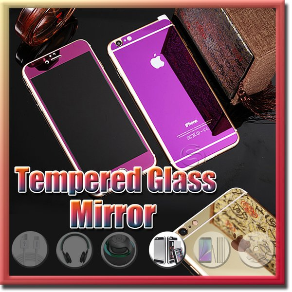 Gold Mirror Effect Colored Tempered Glass Colorful Screen Protector Front and Back For iphone 6Plus 6s plus SE High Quality Explosion Proof