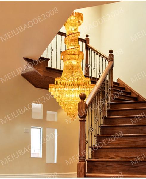 BE34 Penthouse Floor Villa Stairs Duplex Mansion Hotel Lobby Large Living Room Lamp K9 Crystal Chandelier Pendant Droplight Lighting