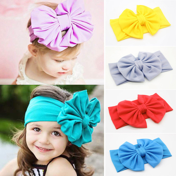 top popular New Baby Girls Bow Headbands Europe Style big wide bowknot hair band 10 colors Children Hair Accessories Kids Headbands Hairband KHA235 2021