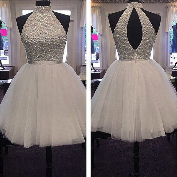 2019 White Sparkly Beaded Crystal Homecoming Dresses Halter Puffy Tulle For Junior Girls Party Dresses Hot Sale Graduation Dresses