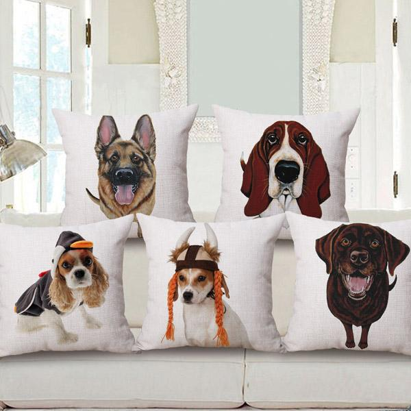 Hot sale dog series cushion cover square pillow case 44cm white background big head cute front sketch Golden Retriever bulldog Papillon
