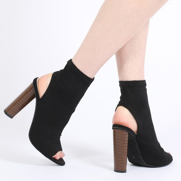 Vintage Roman Slip On Fashion Booties Chunky Heel Ankle Boots Women Open Toe Dress Shoes Elastic Cloth Cut Outs Sandals Boots Size 36-41