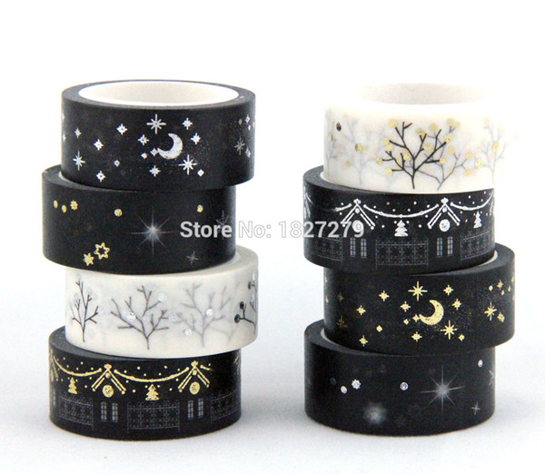 top popular Wholesale-New! Golden blocking paper washi tape single side for masking glod and silver adhesive tape free shipping 15mm*5m 2021