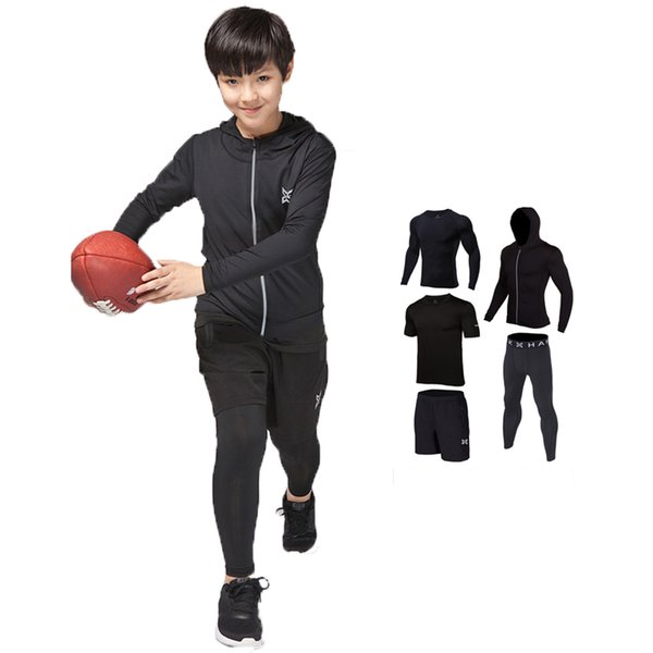 Brand Kids Compression Running Sets Sports Suit jacket shirts Shorts Pants Football Basketball Jerseys 4pcs