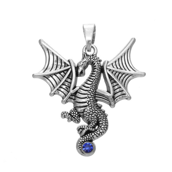 Flying Wings Dragon Charms Tail Set With Blue Crystal for jewelry Custom DIY making
