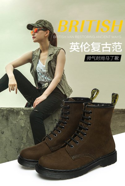 2016 Martin boots women British low-heeled leather boots tooling boots leather boots shoes lovers of single-cylinder