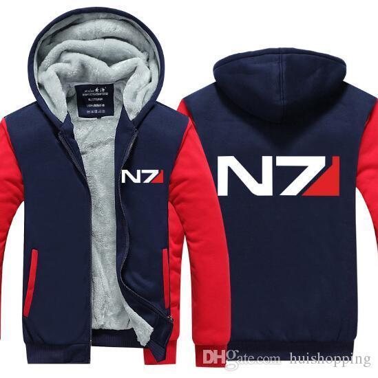 Мужская игра балахон Mass Effect сгущаться флис N7 мода зимнее пальто США ЕС плюс размер