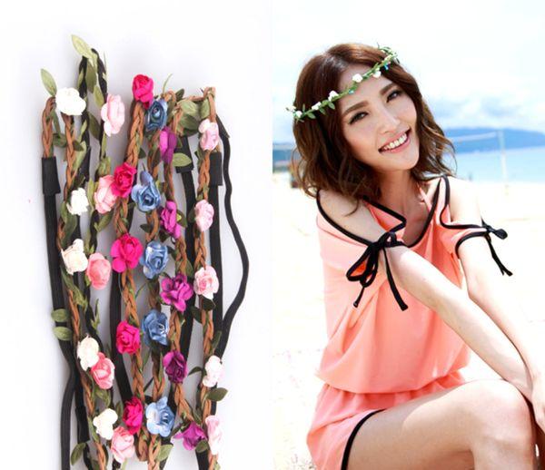top popular New Arrival Wholesale Headpieces Flowers Hot Sale Bridal Accessories Beach Bridal Bridesmaid Floral Headband BOHO Headdress Headpiece 2017 2021