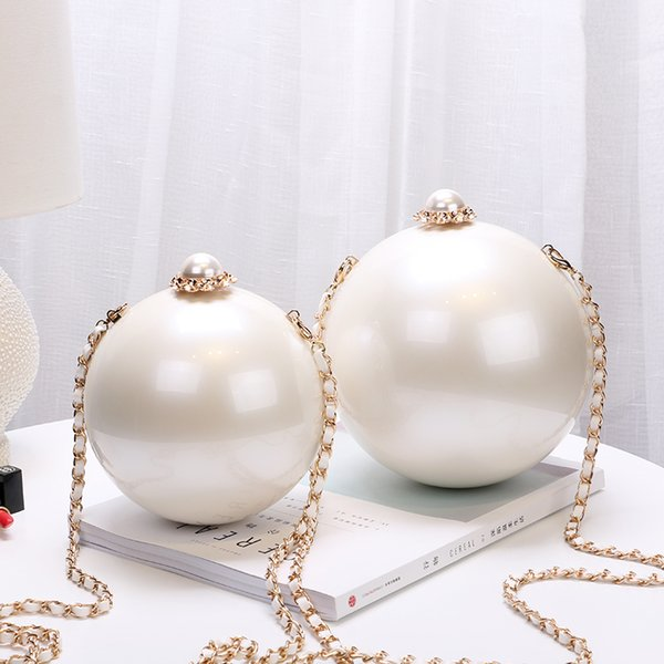 best selling White Pearl chain shoulder evening bags for women acrylic material ball-shape crossbody bags 2 sizes JLN169