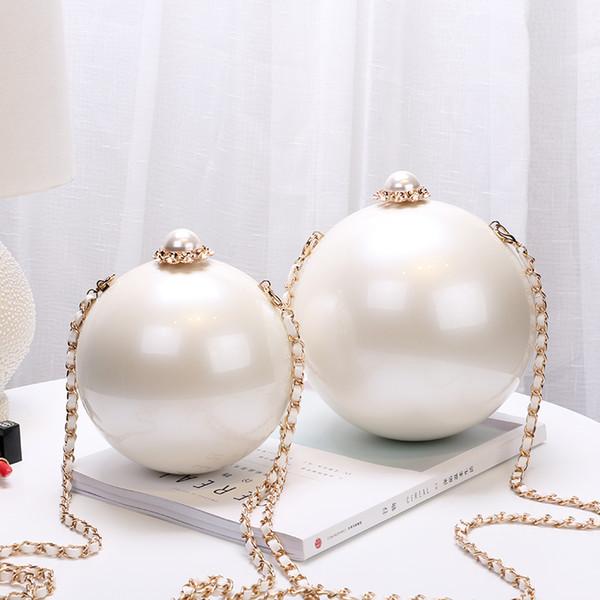 Borse da sera a spalla con catena bianca per donna Borse a tracolla a forma di palla in acrilico 2 taglie JLN169