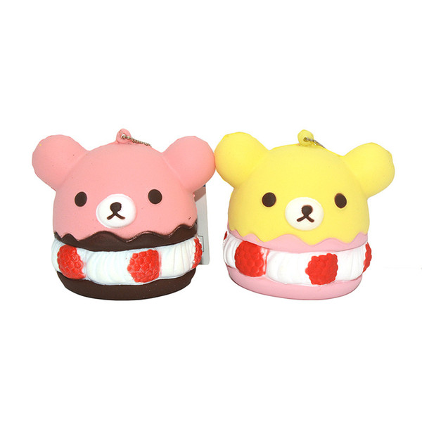 New cute cupcakes cartoon easy bear PU slow rebound Squishy fragrance mobile Pendant with tag