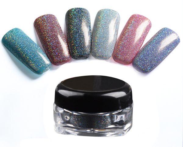best selling 6 Colors Makeup Spangle Glitter Nail Art Paillette Acrylic Uv Powder Polish Nail Tips Beauty Metal Manix Accessories Diy