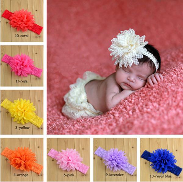 14 colores Diademas de encaje elástico Niños Accesorios para el cabello Diadema de flores para niños Cosas de pelo Accesorios para el cabello para bebés Accesorios para niños