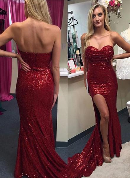 2016 New Sparkle Burgundy Evening Dresses Sequin Lace Sweetheart Side Split Long Sheath Formal Zipper Back Plus Size Prom Dress Party Gowns