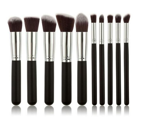 Brochas de maquillaje Kabuki 10pcs / set Kit de cepillo cosmético profesional Nylon Hair Handle muchos colores para elegir