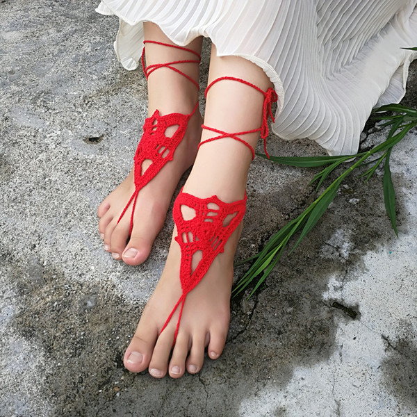 1 Pair OR 2 PCS Hand Crochet Barefoot Sandals, Foot jewelry, Red Bridesmaid gift, Barefoot sandles, Beach Anklet Wedding Sexy Summer shoes