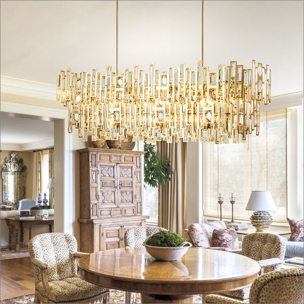 Modern LED Crystal Pendant Lights North Europe Style Hanging Lamp for Dining room Rectangle Pendant Lighting MD85501