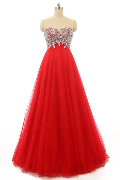 Beaded Crystal Long Tulle Prom Dress With Sweetheart Neckline 2016 Floor Length Prom Gowns Lace Up