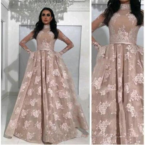 2019 robes de soirée arabe poche manches longues champagne élégant haut corsage illusion dentelle cou taille plus robes de fête officielle de bal du soir