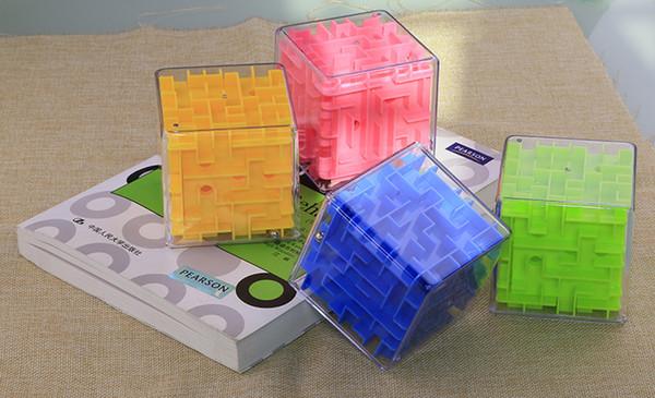 9 pcs/lot color box 3-color children's puzzle magic maze money cans intellectual development 3d three-dimensional maze cube toys puzzle box