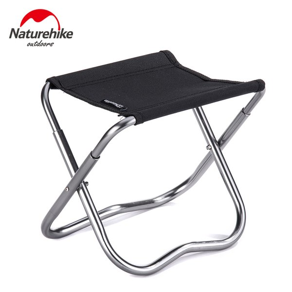 Wholesale-2 Colors Naturehike Outdoor Portable Oxford Aluminum Folding Step Stool Camping Chair Seat Fishing Chair Camping Equipment 243g