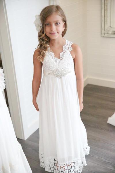 2017 Cheap Chiffon Lace Flower Girls' Dresses For Wedding Party V Neck Sleeveless Beads Belt Shiny Child Birthday Gift
