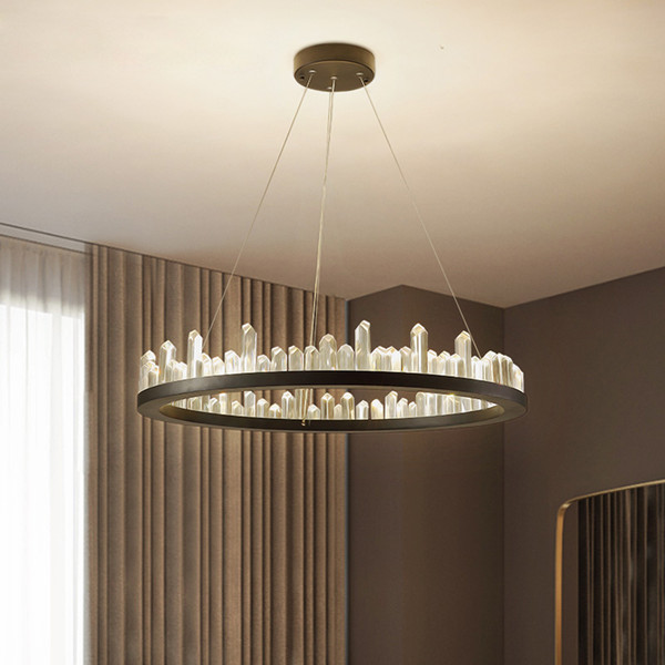 Modern Crystal Chandeliers American Round Chandelier Lights Fixture LED  Dimmable Dining Room Living Room Hanging Lamps 3 Years Warranty Vintage ...