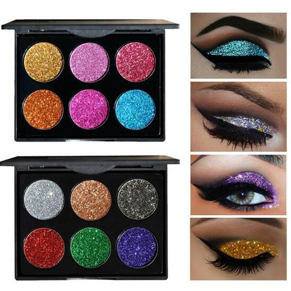 6 Color Glitter Injections Pressed Glitters Single Eyeshadow Diamond Rainbow Make Up Cosmetic Eye shadow Magnet Palette