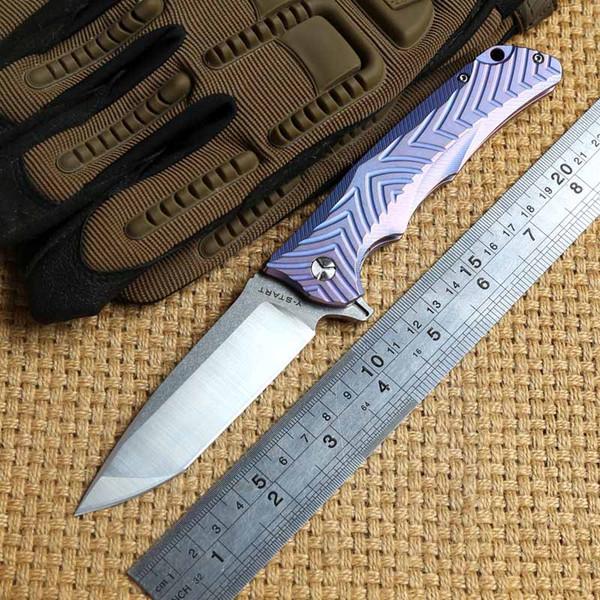 Y-START VG10 originale lama in titanio manico in ceramica con cuscinetto a sfera coltello pieghevole a lama flipper Coltelli da sopravvivenza per campeggio all'aperto Strumenti EDC