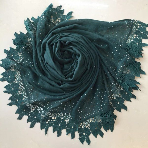 Fashion lace floral diamond luxury cotton scarf design hijab ladies muslim autumn Muffler wrap scarves/scarf 9 colors