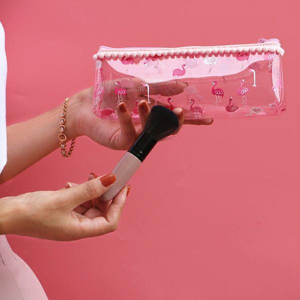 귀여운 플라밍고 투명 화장품 가방 학생 pom pom 지우기 가방 소녀의 작은 지퍼 핑크 화장품 가방 여행 화장 주최자 가방