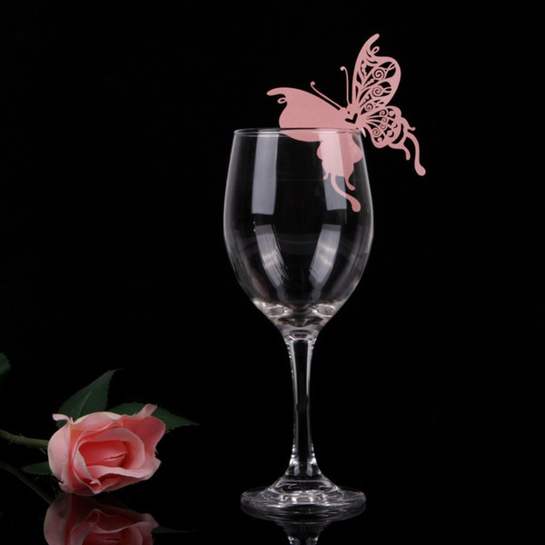50pcs Paper Cards Creative Butterfly Heart Wine Glass Place Card for Wedding Party Decoration