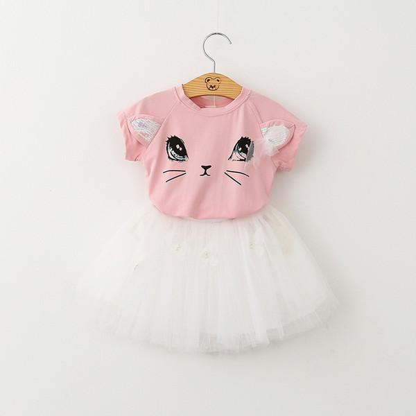 Summer Baby Girls Sets Short Sleeve Cat T-shirt Tops + ButterflyTutu Dress 2pcs Suits Kids Girl Clothes