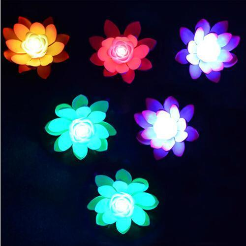 Artificial LED Lotus Flower Lamp In Colorful Changed Water Pool Floating Wishing Lanterns For Wedding Party Decorations Supplies