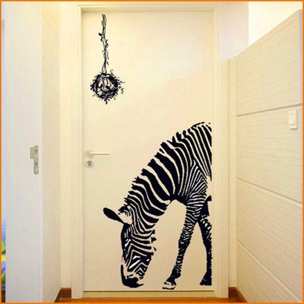 Schwarz zebra diy wandaufkleber wall poster wall stick abstrakte kunst dekor tier aufkleber dekoration (größe 60 * 90 cm)