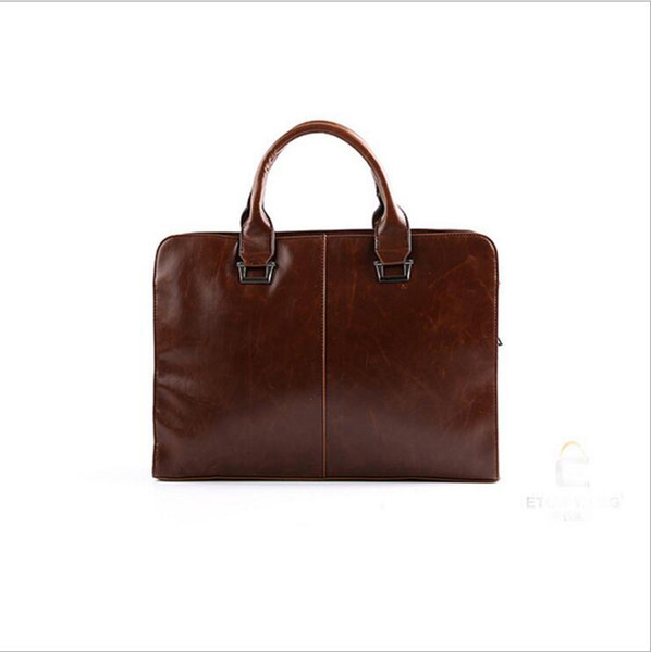 Wholesale- Brand Leather Mens Briefcase Laptop Bags Men's Travel Bag Soft Men Shoulder Bags Business Man Handbag bolsa