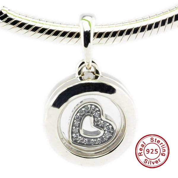 Schwimm Medaillon, Saphirglas Klar CZ 100% 925 Sterling Silber Bead Pandora Modeschmuck DIY Charme Marke
