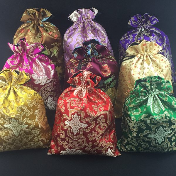 3 size Luxury Large Silk Brocade Bag Christmas Gift Bags for Candy Tea Jewelry Crafts Storage Drawstring Wedding Party Favor Bags 10pcs/lot