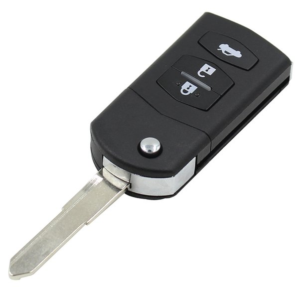 NEW 3 BUTTON REMOTE FOLDING FLIP KEY SHELL CASE FOB PAD FOR MAZDA 2 3 5 6 RX8 MX5 WITH LOGO