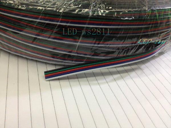 Livraison gratuite 20m de câble de câble à 20 broches 22 AWG RGB Extension Bleu / Rouge / Blanc / Vert / Noir pour RGBW SMD 5050 3528 Led bande de lumière RGB