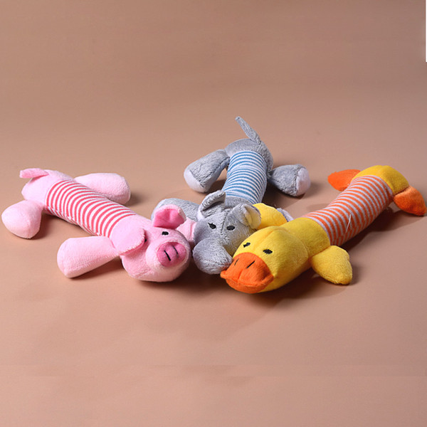 top popular Hot Dog Toy Pet Puppy Plush Sound Chew Squeaker Squeaky Pig Elephant Duck Toys Cute Pet Toys YC0042 2021