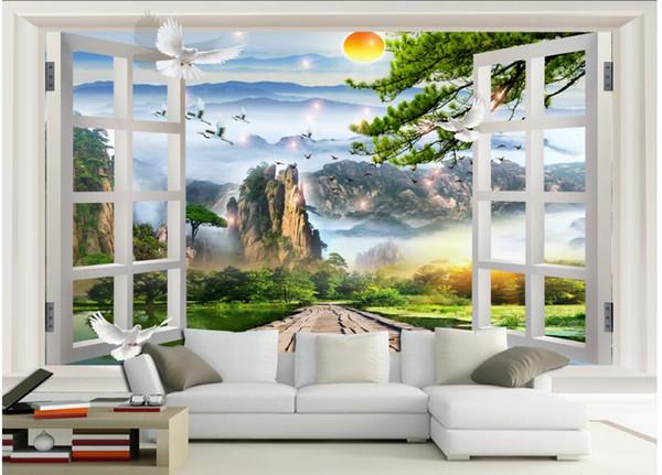 3d papel de parede personalizado foto pintura de paisagem Chinesa fora da janela sala de estar Home melhoria pintura 3d murais de parede papel de parede