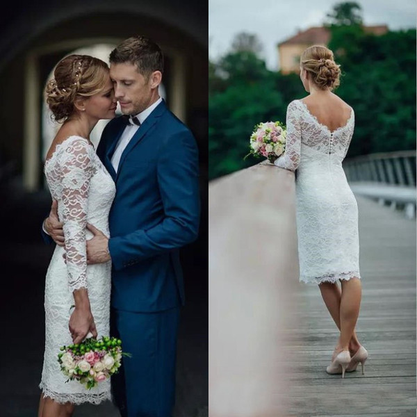 best selling 2019 Vintage Lace Short Knee Length Wedding Dress Sheer Neckline Cheap Custom Made Country Beach Bridal Gowns with Illusion Sleeves