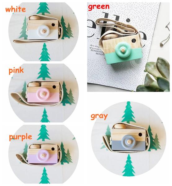 5 colores Niños de madera Cámara de Navidad Niños fresco viaje Mini juguete Bebé lindo Seguro Natural Regalo de cumpleaños decoración de la habitación de los niños