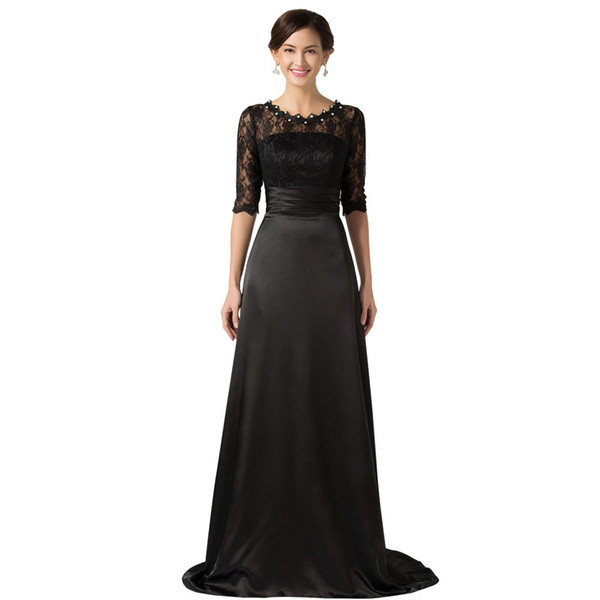 2019 Newest Mother of the Bride Dresses with Lace Sleeves Brides Mother Dresses Pearls Floor Length Black Evening Dress Custom Made