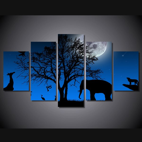 5 Pcs HD Printed Africa Elephant Moon Painting Canvas Print room decor print poster picture canvas Free shipping