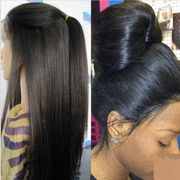 Light Yaki Straight Wig Human Hair Front