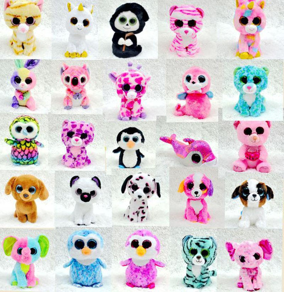 25 Design Ty Beanie Boos Plush Stuffed Toys 17cm Wholesale Big Eyes Animals Soft Dolls for baby Birthday Gifts ty toys B