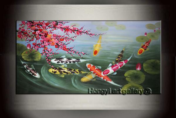 100% Handmade Wall Art Decor Pittura A Olio Astratta Cherry Blossom Feng Shui Koi Pesce Pittura su Tela Casa Moderna per living Decor Fsh1001